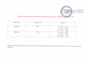 Режим и порядок получения молока в гимназии № 1 001